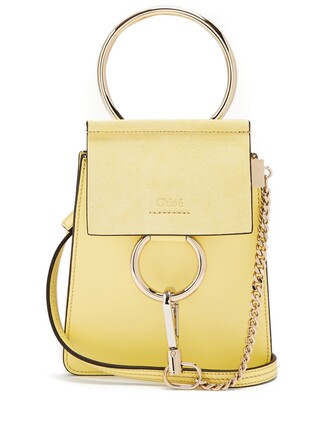 cross mini bag leather suede light yellow