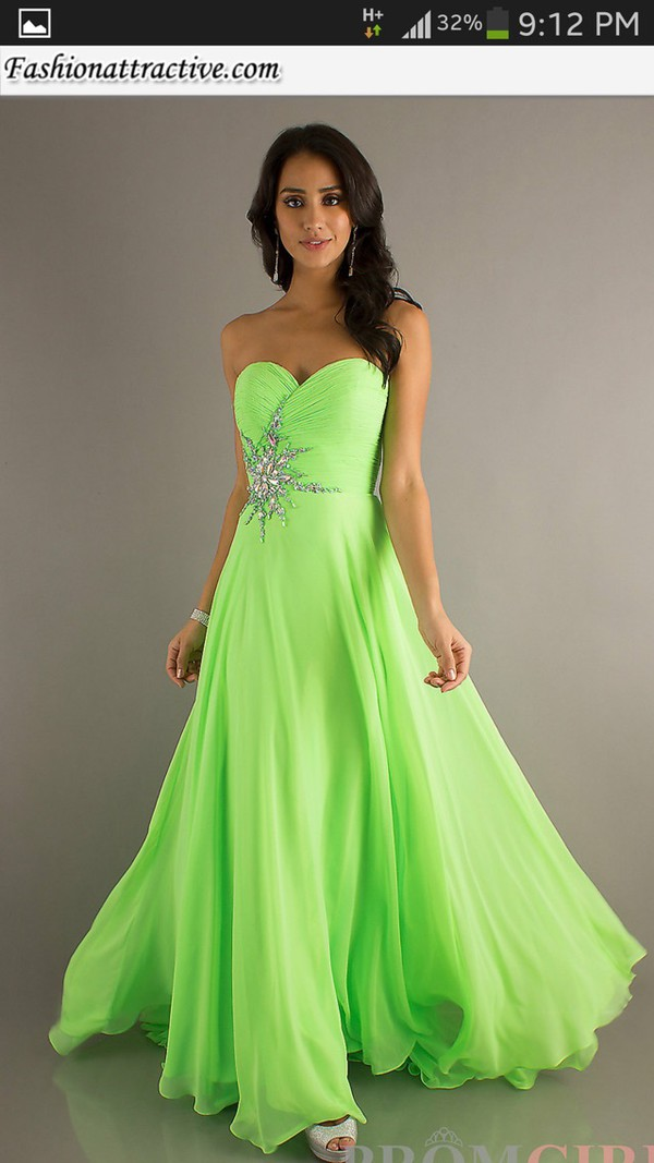 long prom dresses 2014 lime greenhot pink beaded