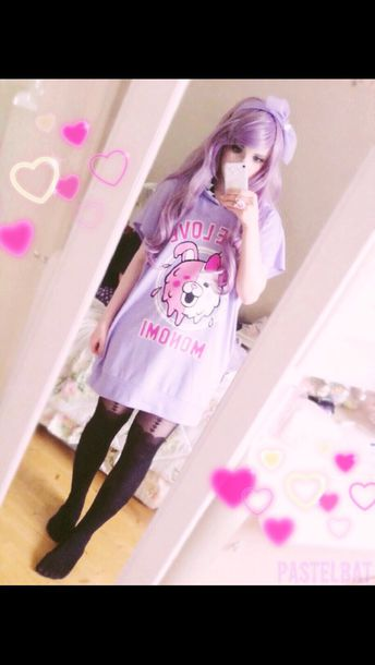top pastel goth goth kawaii kawaii dress dress dress top cute pink purple bear cute dress tights hair accessory dangan ronpa kawaii grunge kawaii accessory black tights garter belt teenagers teens girls cool teens young
