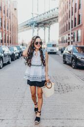 gracefullee made,blogger,top,sunglasses,shorts,jewels,shoes,bag,basket bag,spring outfits