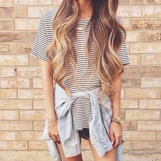 blouse t-shirt striped t-shirt stripes rayures
