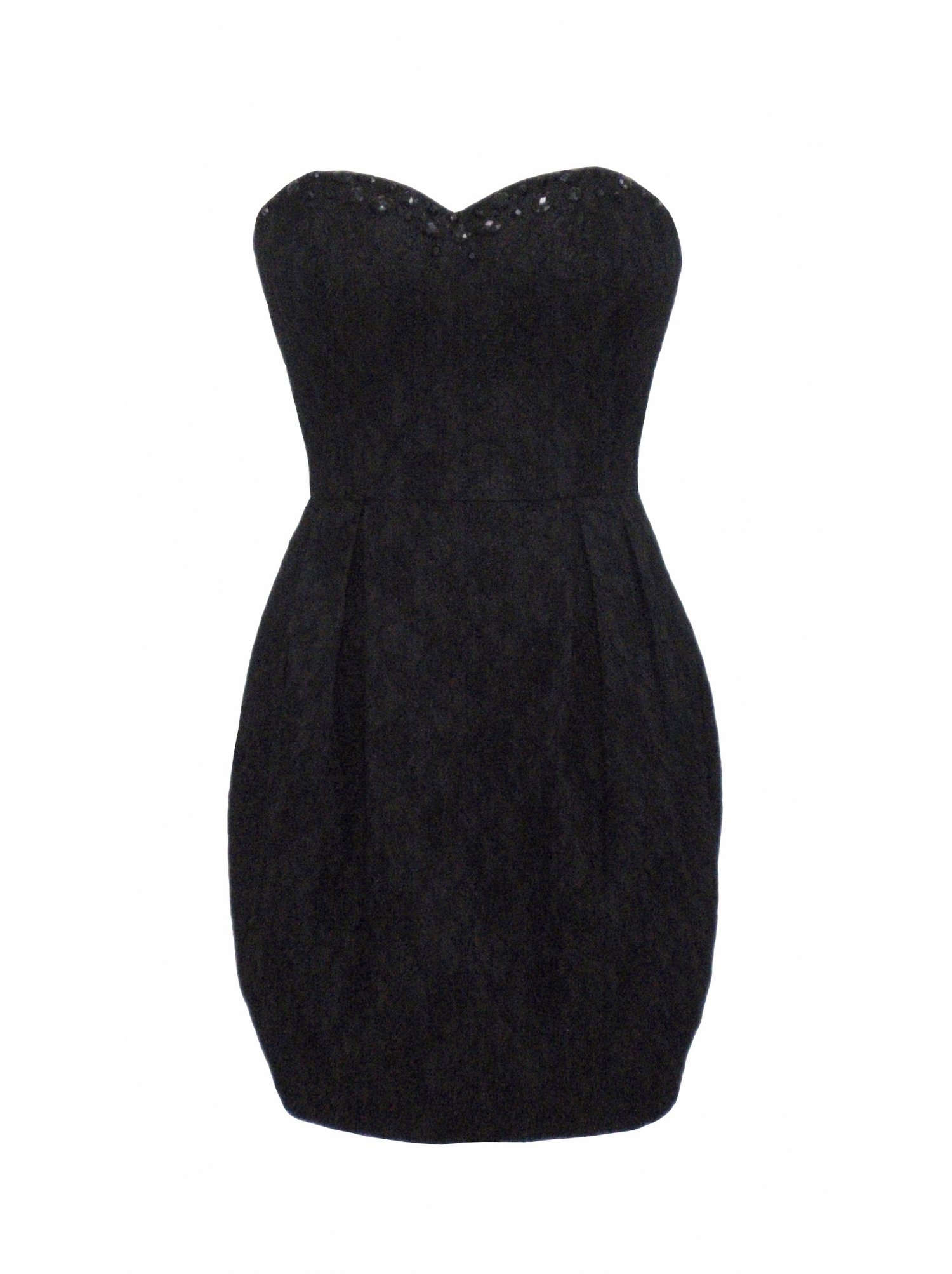 Little Black Dress - Black Strapless Dress with Lace | UsTrendy