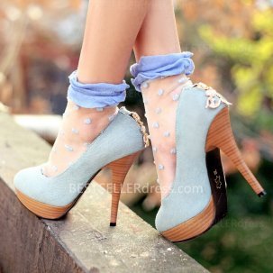 South Korean Style Cloth Sky High-heeled Stiletto With Round Toe [Round Toe Shoes] - $59.00 : Hot Sale | Homecoming Dresses, Prom Dresses, Formal Necktie, Classic Shoes