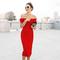 Bardot notch front midi bandage dress red