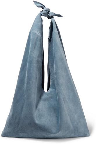 bag shoulder bag suede light blue light blue