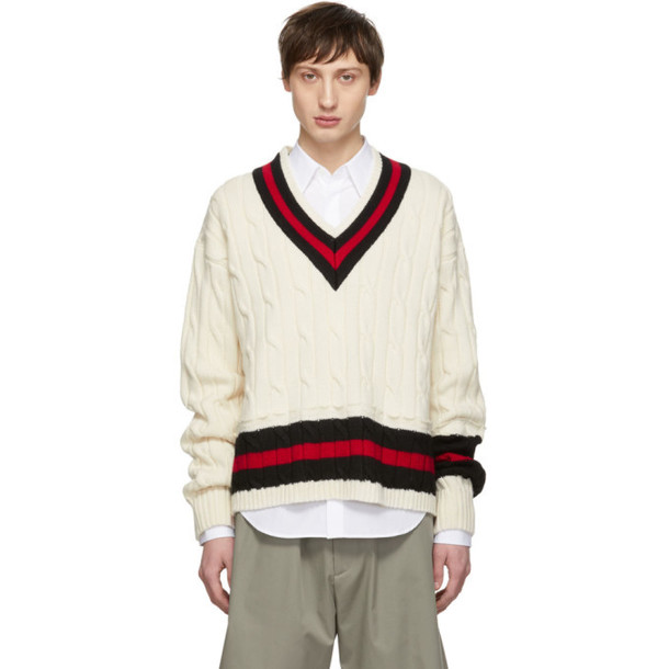 Maison Margiela Beige Collegiate Decortique V-Neck Sweater