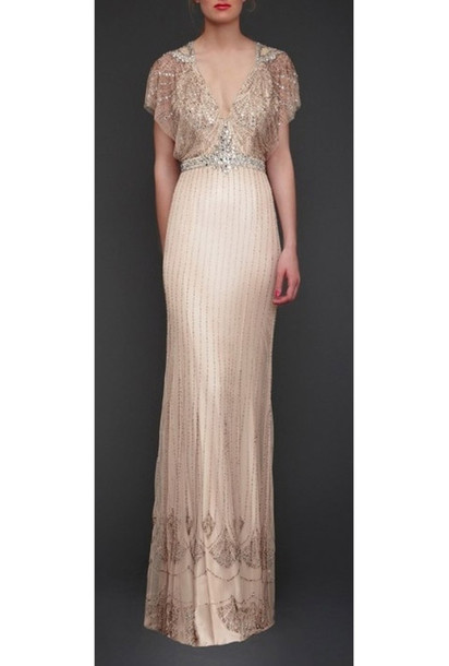 Dress: wedding, beaded, cream, vintage, sleek, long, maxi - Wheretoget