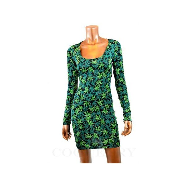 Pot Weed Marijuana Print Long Sleeve Bodycon Dress - Polyvore