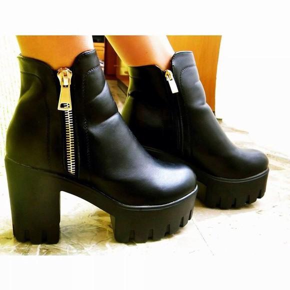 zip boots plateau high heels