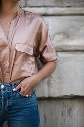 shirt,pink shirt,satin shirt,satin,minimalist jewelry,minimalist,necklace,gold jewelry,jeans,blue jeans,denim,tumblr,dusty pink,jewels,jewelry,cross,cross necklace,accessories