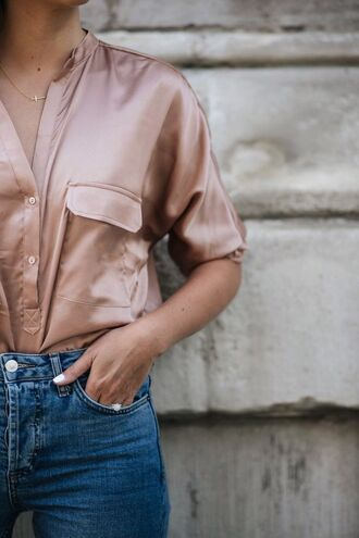 shirt pink shirt satin shirt satin minimalist jewelry minimalist necklace gold jewelry jeans blue jeans denim tumblr dusty pink jewels jewelry cross cross necklace accessories