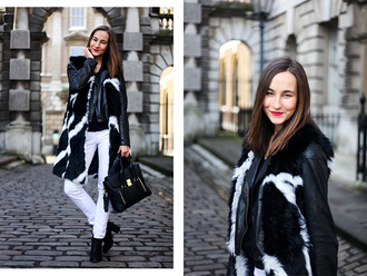 a cup of style blogger fur coat black and white white jeans jacket pants shoes bag make-up