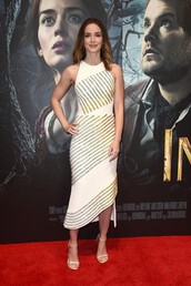 gown,emily blunt,striped dress