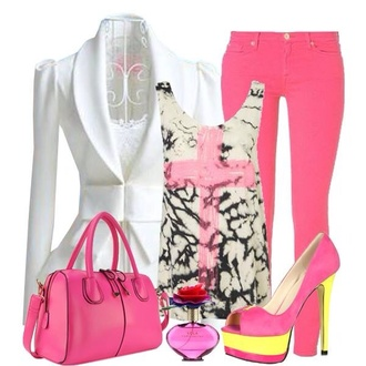 pink pants t-shirt pink cute pants purse blazer pink heels pumps