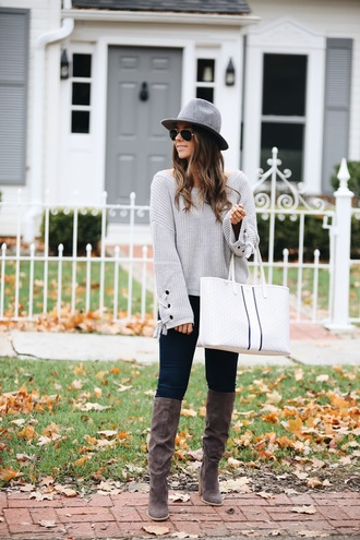 fashionably kay blogger sweater jeans shoes bag hat fall outfits tote bag boots grey sweater