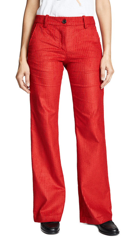 ei8htdreams Corduroy Wide Flare Trousers in red