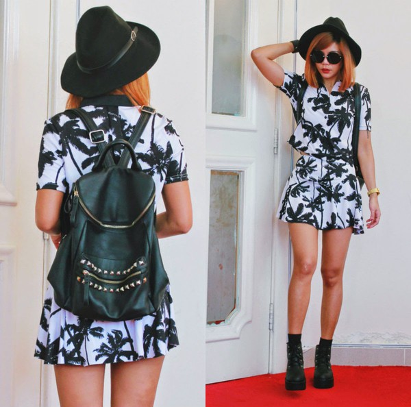 born to bother you skirt palm tree print summer outfits hat summer dress boots backpack black and white skater skirt mini skirt blogger fashion blogger skirt dress