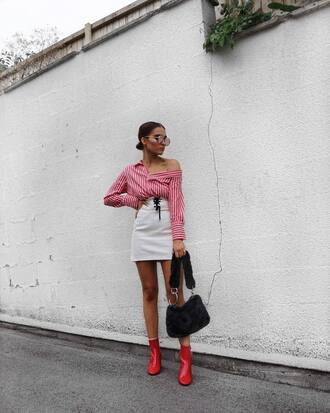 top skirt tumblr off the shoulder stripes striped top mini skirt boots bag furry bag shoes sunglasses