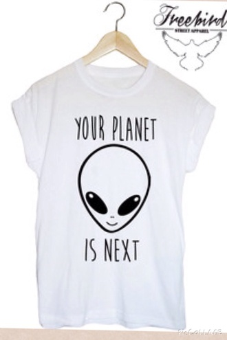 grunge alien rad cool weird tee white t-shirt tee-shirt t-shirt t-shirt with print