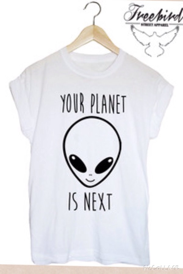grunge alien rad cool weird t-shirt white t-shirt t-shirt t-shirt t-shirt with print