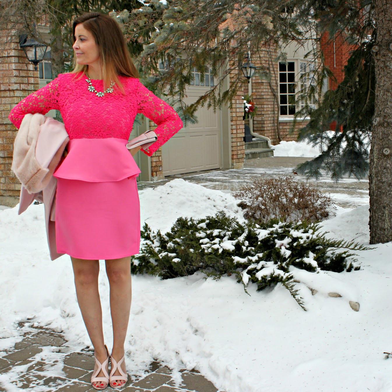 Hot pink floral crochet peplum dress