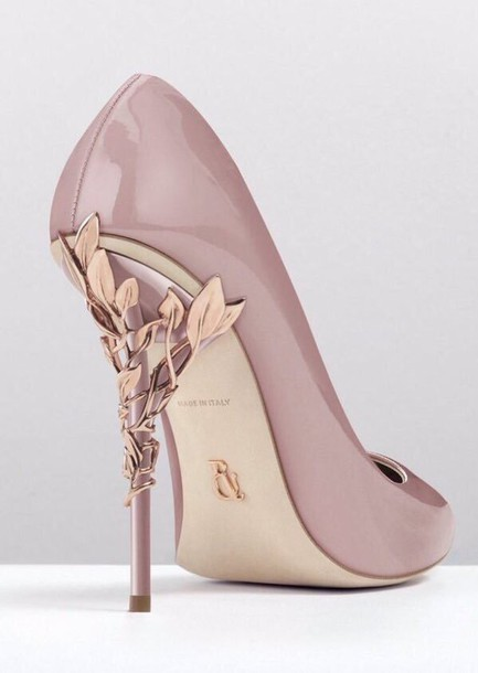 Shoes: nude, heels, gorgoues, leafs, beautiful, classy, leaves ...