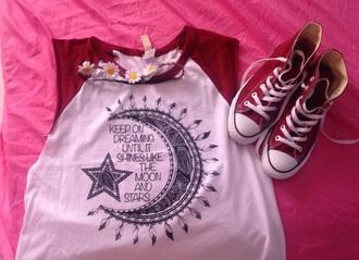 tank top moon stars converse hightops burgundy fashion heaband shoes ootd shirt