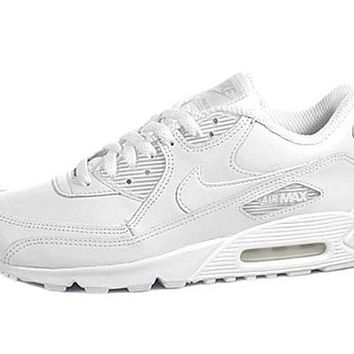 NIKE Air Max 90 Mens Leather Running Shoes White Casual Classic Retro Throwback Sneakers on Wanelo