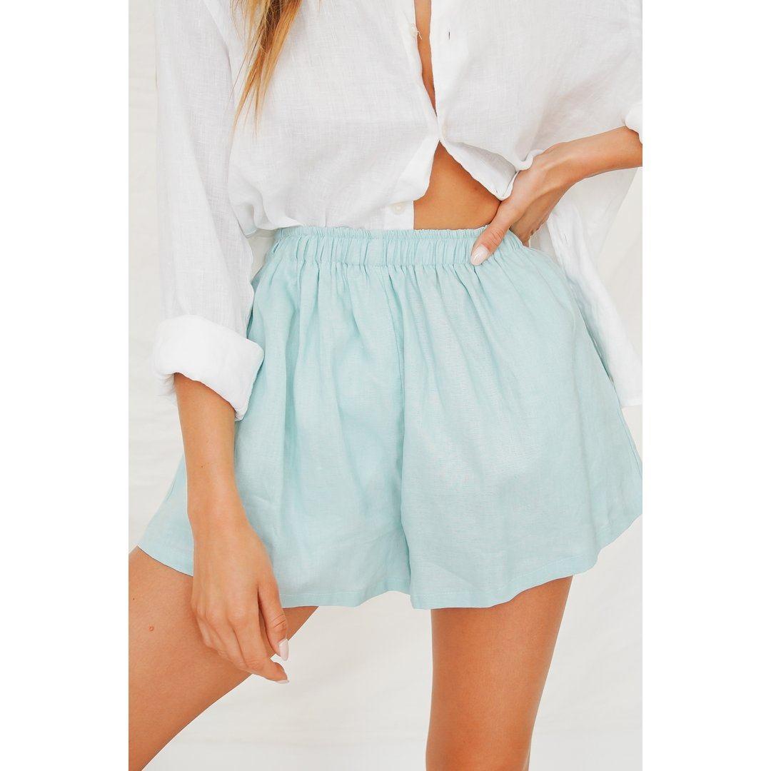 VG Summer Somewhere Linen Shorts // Aqua