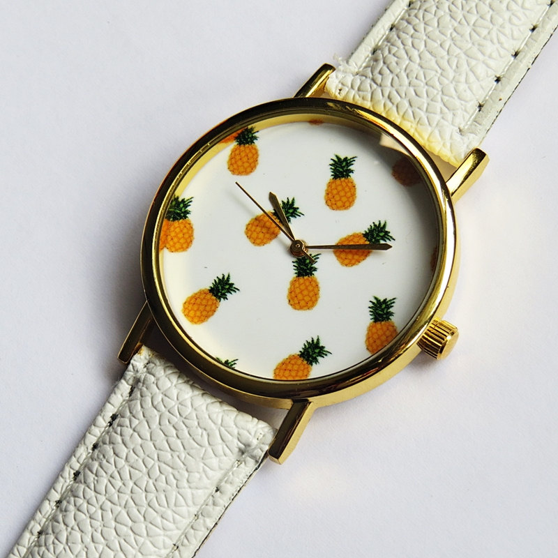Tropical Fruit Pineapple Watch, Vintage Style Leather Watch, Women Watches, Boyfriend Watch,