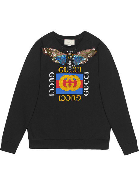 Gucci - Gucci logo sweatshirt with embroidery - women - Cotton - M, Black, Cotton