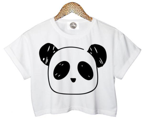 t-shirt crop tops crop tops crop tops love crop tank top panda pandas printed pandas white white top white top