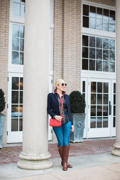 lemon stripes blogger jacket shirt bag jeans make-up jewels red bag crossbody bag plaid shirt blazer knee high boots brown boots