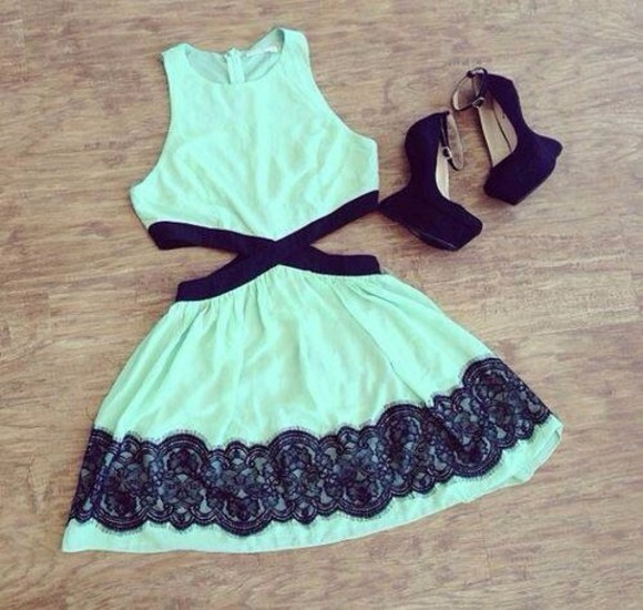 mint dress mint green mint green dress black shoes high heels prom dress short party dresses fashion clothes outfit style blue black mint cut outs sun dress