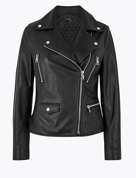 Leather Biker Jacket   Autograph   M&S