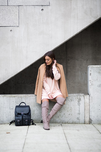 anouska blogger sweater dress shoes jacket nude coat sweater dress over the knee boots backpack fall outfits boots college