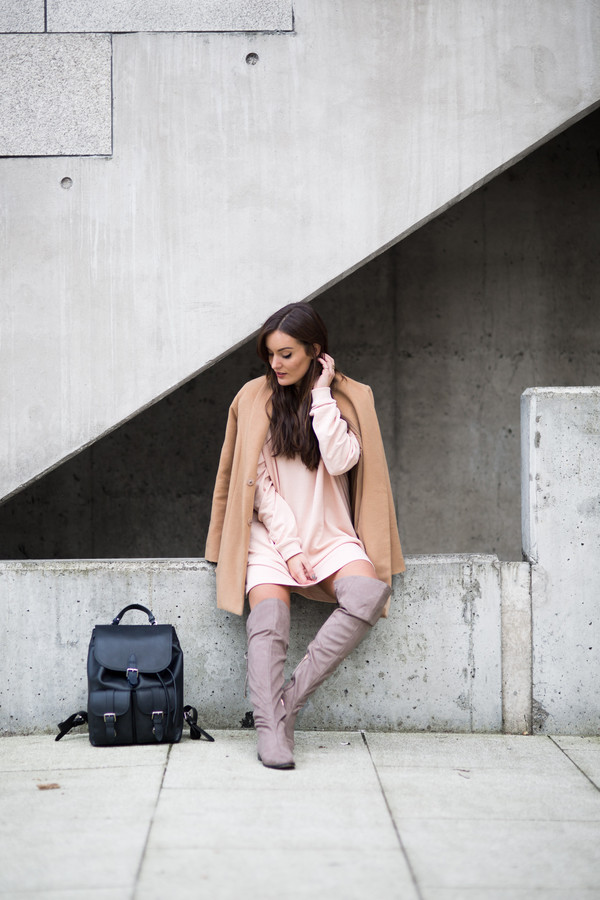 5465956c598 anouska blogger sweater dress shoes jacket nude coat sweater dress over the  knee boots backpack fall