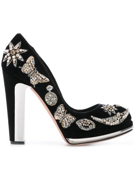 women embellished pumps platform pumps leather black velvet shoes