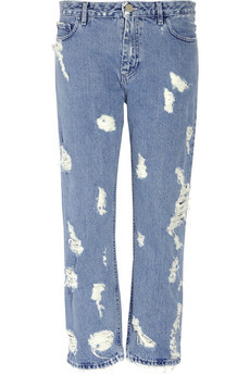Rise distressed jeans