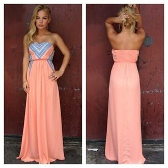 dress maxi dress coral dress sleeveless dress summer dress neon coral