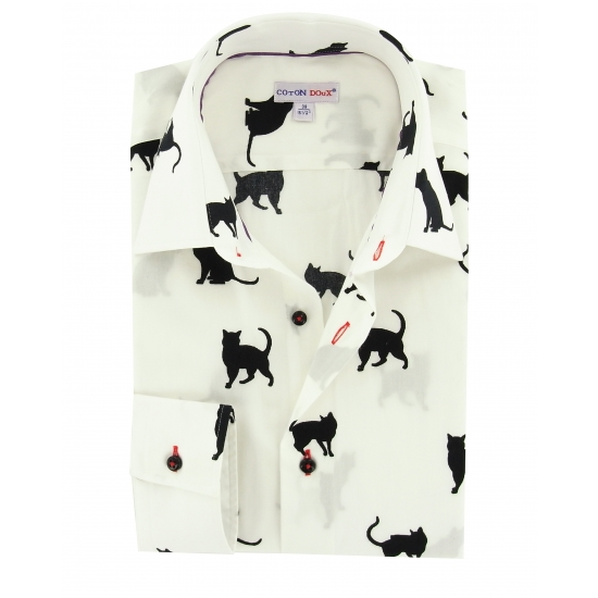 Ebay hair accessories - Men S White Shirt With Black Printed Cats Small Collar