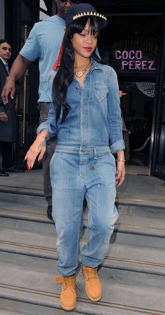 hat rihanna jeans snapback spike timberlands denim jewels shoes