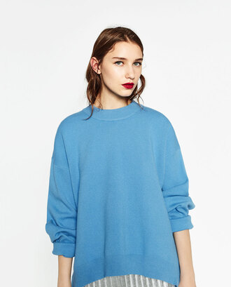 sweater knitted sweater blue sweater oversized sweater