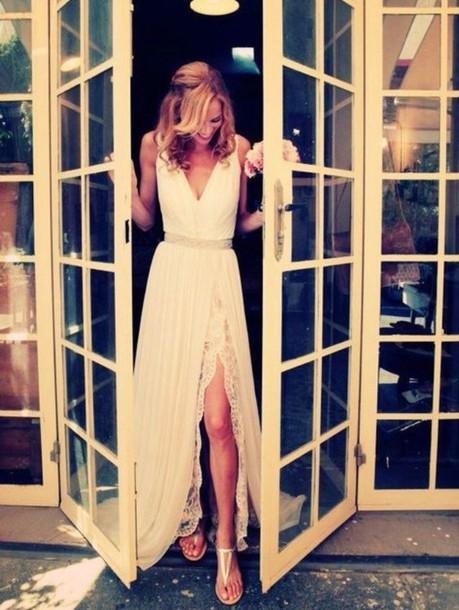 dress simple wedding dresses high slit dress lace dress silk dress