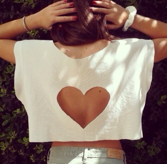 white shirt white t-shirt heart