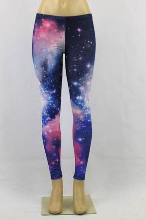 Galaxy nebula space cosmic thunder print tight fashion skinny pant