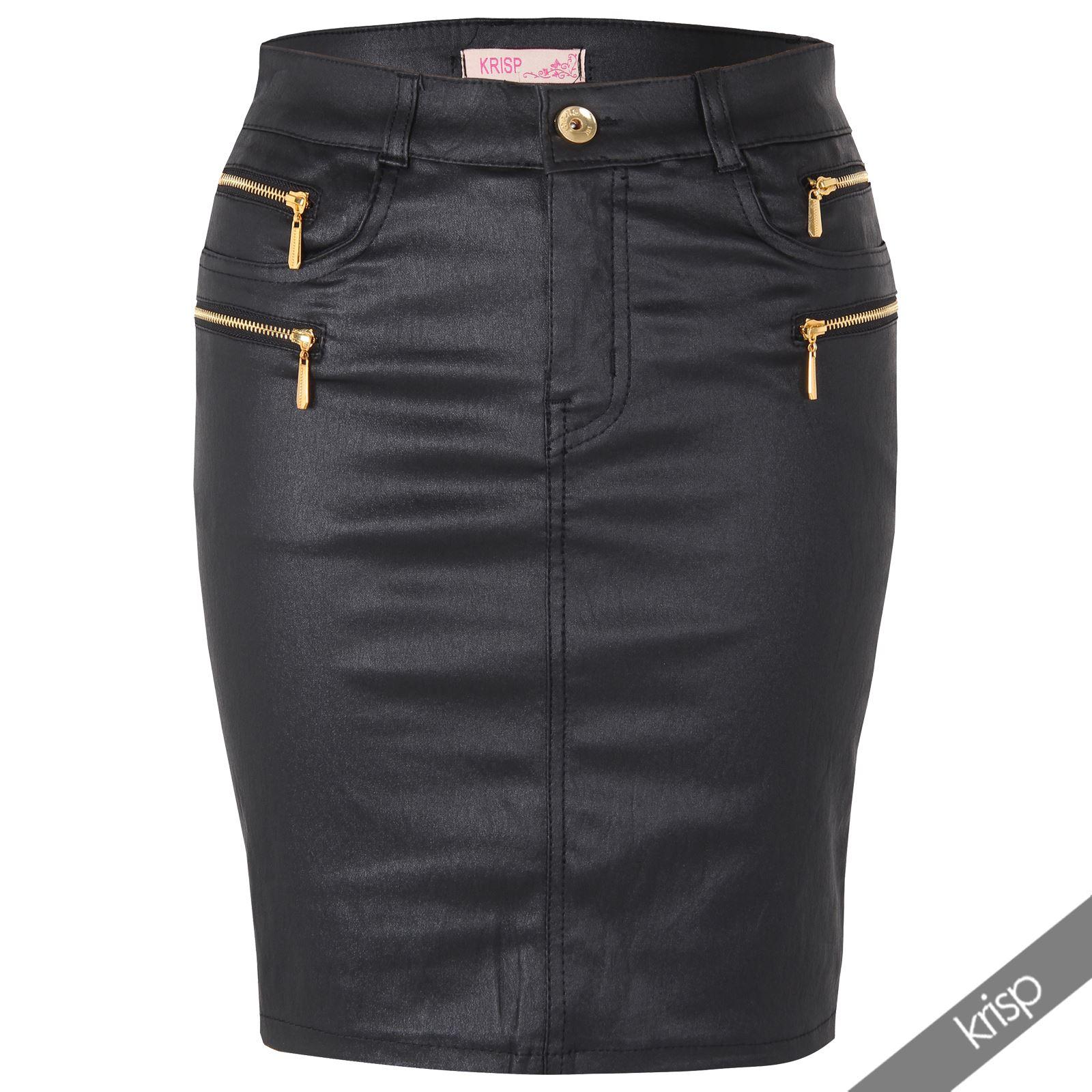 Womens girls wet look stretch denim pu leather sexy pencil bodycon mini skirt