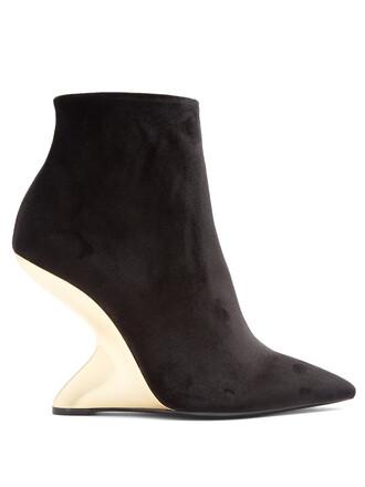 ankle boots velvet gold black shoes