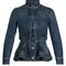 Mandarin-collar peplum denim jacket