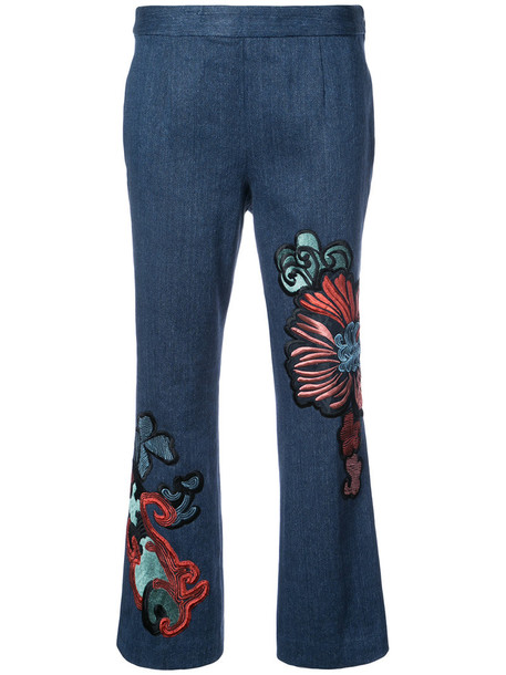 Natori jeans cropped jeans flare cropped women cotton blue